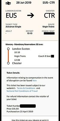 London Euston to Chester Advanced Single for 28/06/19 Dep 10:10am arr 12:08pm