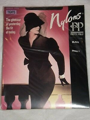 Pretty Polly  'Nylons'  Sheer Through Body Black Tights - Size 1 - Small