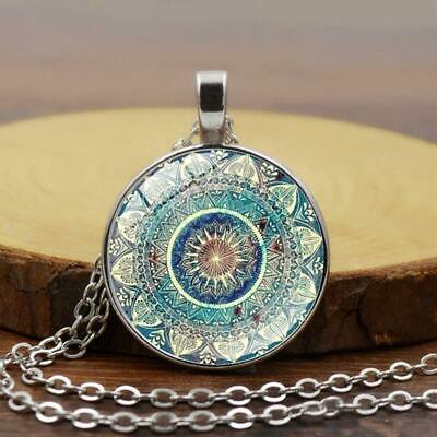 Vintage Glass Dome Necklace Silver Plated Pendant Necklace Chain Necklace⏎