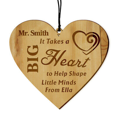 Personalised Engraved Teacher Gift Wooden Plaque Hanging Keepsake Thanks Present