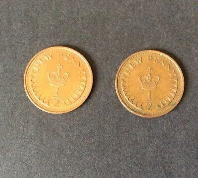Great Britain - 1971 1/2p Coin - Used (x2)