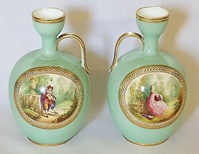 French porcelain vintage Victorian antique pair of hand painted ewer vases