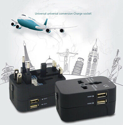 AU/UK/US/EU All in one Travel AC Power Charger Adapter Plug Converter Dual USB