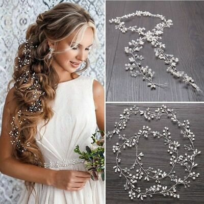 Wedding Hair Vine Bridal Accessories Crystal Pearl Headband Chain Headpiece AU