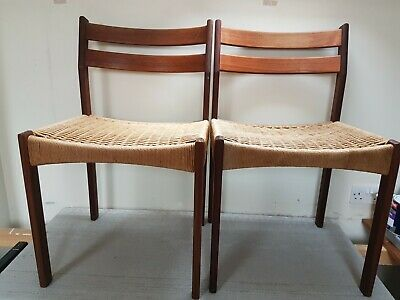 Pair of Retro Mid Century Teak Danish Dining Chairs