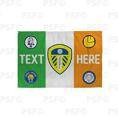 Leeds United FC Official Personalised Irish Flag St Patrick LUFC Crests Banner