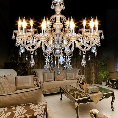 New Elegant Ceiling Light Crystal Chandelier 10 Heads Home Decorative Lamp MA