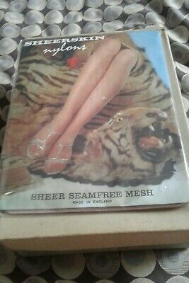 Sheerskin Nylons Seamfree Mesh Stockings Bronze 10 1/2 New In Packet