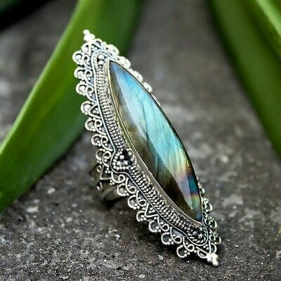 Retro Abalone Shell Silver Plated Large Lace Womens Ring Jewelry Size 6-10 New