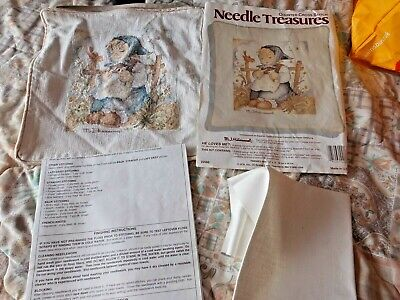 M.j.hummel Counted Cross Stitch Needle Time Cushion Cover Completed As Shown
