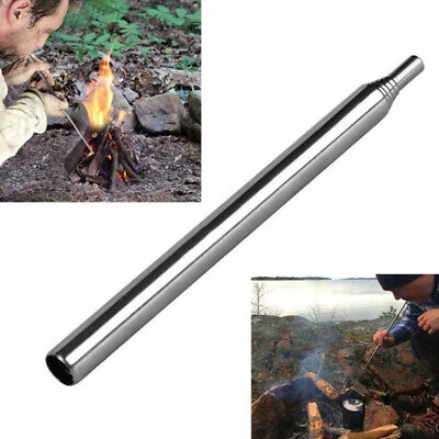 Outdoor Camping Useful Emergency Blow Fire Tube Telescopic Pipe Survival Tool Op