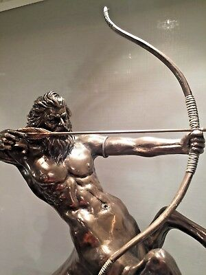Nude male Hunter Statue Horse Man Bow and Arrow Bronze color Greek $190