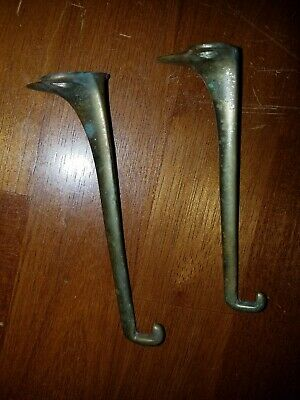 2 ANTIQUE BRASS Coat Hooks.  Vintage  Hardware