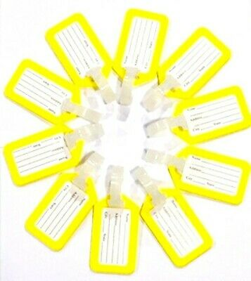 10 Piece Yellow Plastic Luggage Tag for Suitcase Baggage