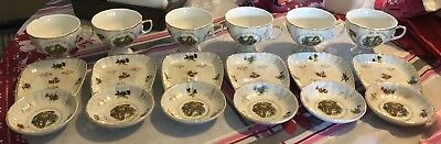 Luxury VINTAGE SNACK PLATE OR DISH & LUNCHEON TEA CUP SET - 6 and 5