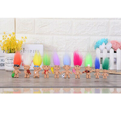 8pcs Vintage Lucky Troll Doll Mini Figures Toy for Cake Toppers Party Favors