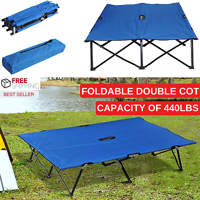 Blue Portable & Foldable Double Cot With Steel Frame And Durable Oxford Fabric