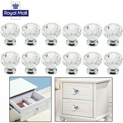 12x Crystal Clear Diamond Glass Knobs Cupboard Drawer Furniture Handle Cabinet