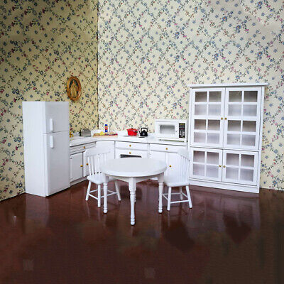 1:12 Miniature Wooden Kitchen Cabinet Stove Refrigerator Set for Dolls House
