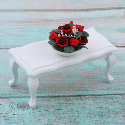 European Style Miniature Wood End Table Rose Potted for 1/12 Dollhouse Decor