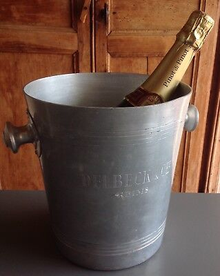 """ENGRAVED  Vintage French """"DELBECK, REIMS"""" Champagne, wine cooler, ice bucket"""