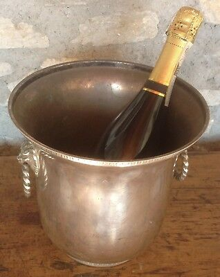 Vintage French SIVER PLATED Champagne, wine cooler, ice bucket, lion head handle