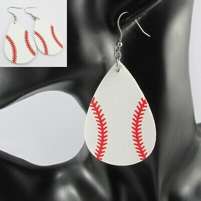 Teardrop PU Leather Baseball Charm Statement Earrings Stainless Steel Hooks 84mm