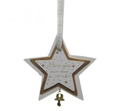 Heaven Sends White 3d Wooden Star Decoration Christmas Love You