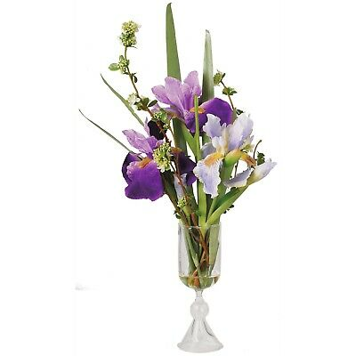 Artificial Purple Lilac Iris Flower Arrangement Glass Vase Centrepiece Plant