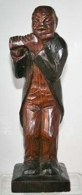 Antique Folk Art Carved Wood Black Musician Figure in Swallow Tail Coat. Sgnd.
