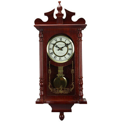 New Bedford Collection Redwood Finish 25 Wall Clock with Pendulum and Chime