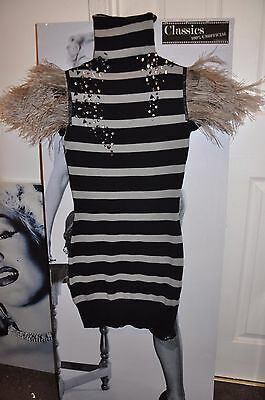 "Party Striped Black/Pale Gray Extra Mini Dress ""Blackberry"",Ostrich Feathers 6-8"