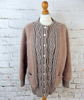 """Vintage cardigan coatigan bust 46"""" 16 18 cable knit super fluffy mohair brown"""