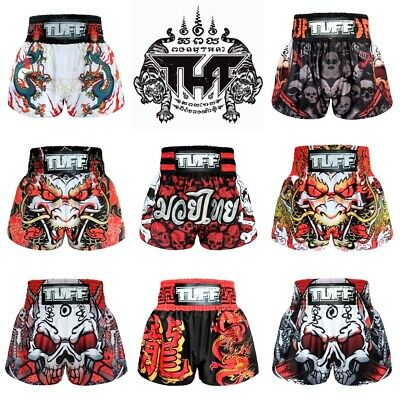 New TUFF Muay Thai Boxing Shorts 638 Kick MMA Training Black White S M L XL XXL