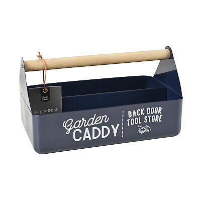 Burgon & Ball - Atlantic Blue Coloured Garden Caddy with Beech Wood Handle