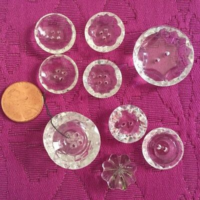 10 Clear Vintage Antique Carved Faceted Cut Glass Round Buttons Mixed Lot Pairs