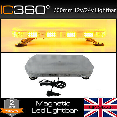 "600mm 60cm 24"" Magnetic 56W LED Amber Light Bar Strobe Beacon Recovery Vehicles"