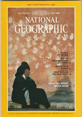 National Geographic Magazine July 1988 Kourion Earthquake, Moors in Spain, Chile