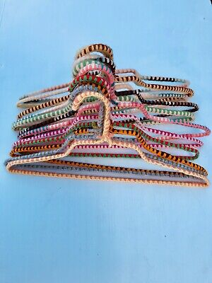 VTG Lot 12  Crochet Covered Wire Hangers Knit Yarn Fabric Handmade Cottage Chic