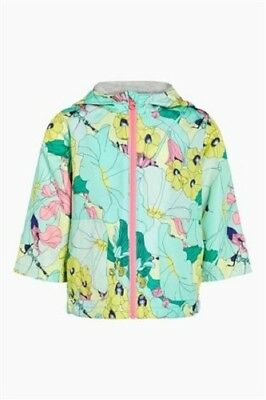 BNWT NEXT Girls Pink, Yellow & Green Floral Print Cagoule Coat Jacket 2-3 Years