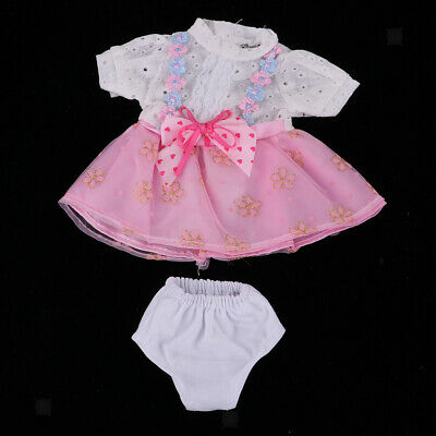 Handmade Pink Floral Dress Underpants for 16inch Salon Doll Girl Clothes