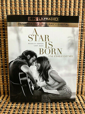 A Star Is Born 4K (1-Disc Blu-ray, 2019)+Slipcover.Lady Gaga/Bradley Cooper/Sam