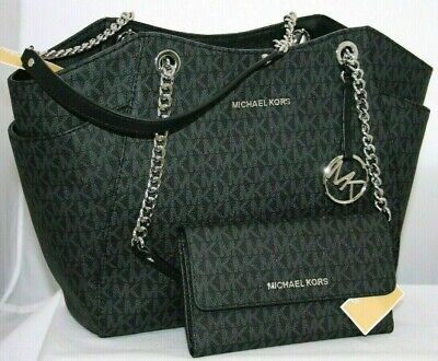 9e8979c362cc78 New Michael Kors MK Black Signature Jet Set Travel Chain Shoulder Tote or  Wallet