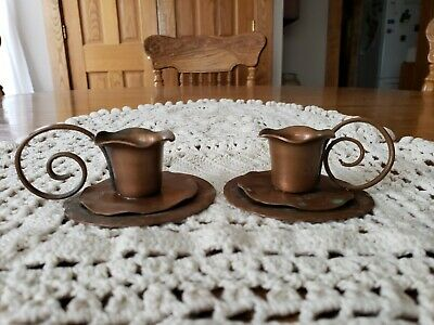 """Vintage Marked Craftsman Studio Hand Made Copper Candlestick Holders 3.5w×1.25""""t"""