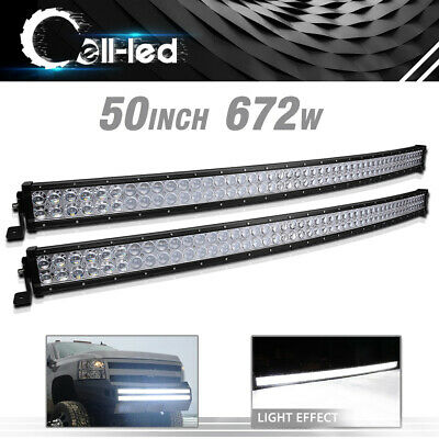 2PCS 50Inch LED Light Bar Curved Combo Driving Offroad SUV Truck Marine 4X4 672W