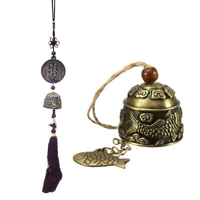 2pcs Chinese Fu Blessing Good Luck Hanging Windchime Bronze Feng Shui Bell
