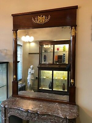 19th Century French Empire Classical Revival Mirror Gilded Eagles and Bees