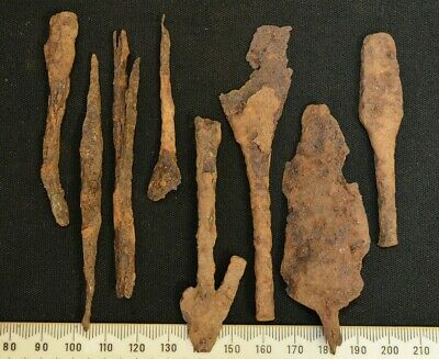 Group of 8 Ancient Viking Iron Speárhead, c 950-1000 Ad. Lot of 8x Rusty WEAP0NS