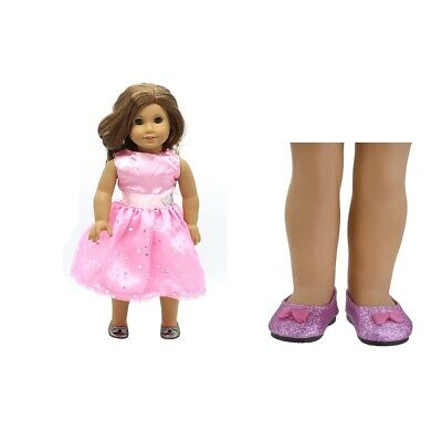 "Fashion Sequin Skirt & Purple Shoes for 18"" AG American Doll Doll Clothing Accs"