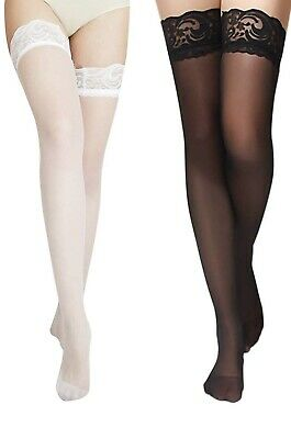 fda85aaef59c5 Charmnight Women's Sheer Thigh High Stockings Lace Top Reinforced Toe 2-Pack